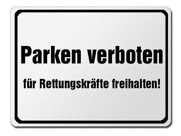 parkverbotsschild aus aluminium parken verboten f r rettungskr fte freihalten hausnummern. Black Bedroom Furniture Sets. Home Design Ideas
