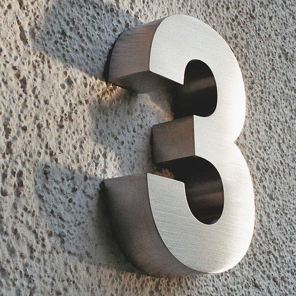 3D Hausnummer 3 aus Edelstahl - Höhe 160 mm Tiefe 30 mm ...