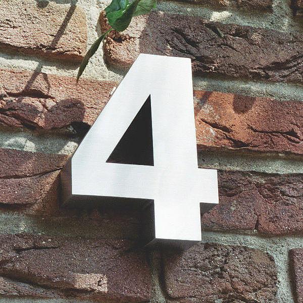 3d hausnummer 4 aus edelstahl h he 160 mm tiefe 30 mm. Black Bedroom Furniture Sets. Home Design Ideas