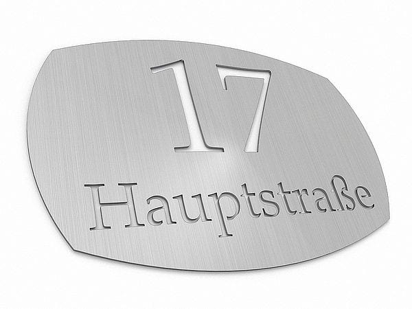 edelstahl hausnummer mit familienname typ 2 hausnummern. Black Bedroom Furniture Sets. Home Design Ideas