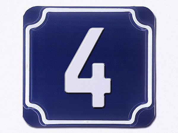 gepr gte einstellige hausnummern in blau ziffer 4. Black Bedroom Furniture Sets. Home Design Ideas
