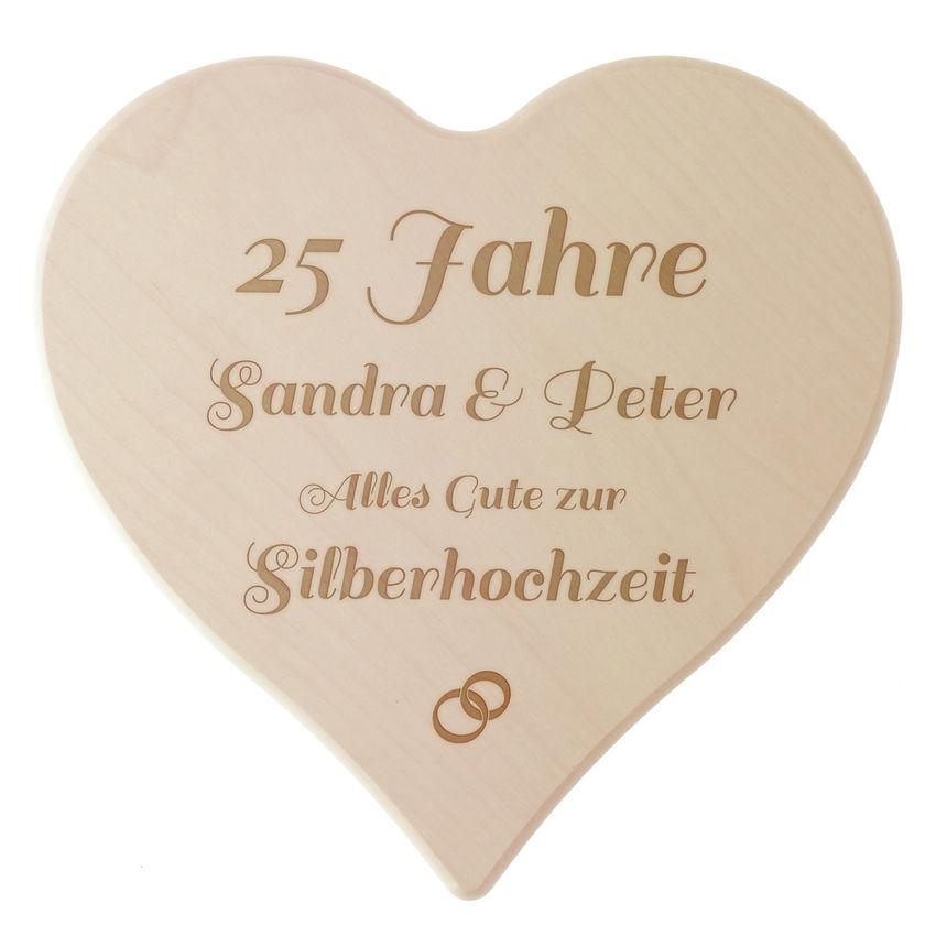 Holzherz zur Silberhochzeit mit Gravur - Hausnummern und Schilder ...