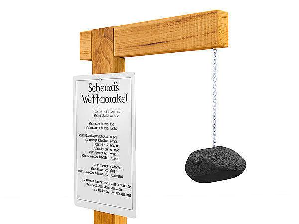 Holzst nder f r wettersteinschild mit stein und kette for Gartendeko schilder