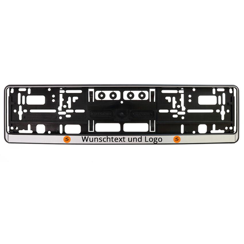Kennzeichenhalter bedrucken - schwarz/silber - Größe: 52
