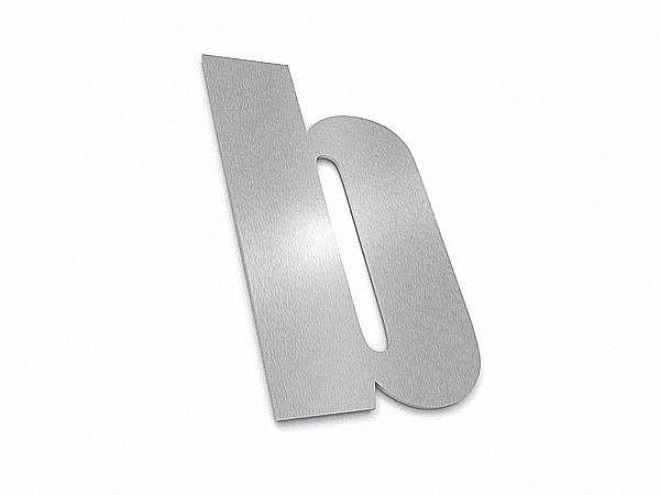 moderne edelstahl hausnummer buchstabe b in schrift impact. Black Bedroom Furniture Sets. Home Design Ideas