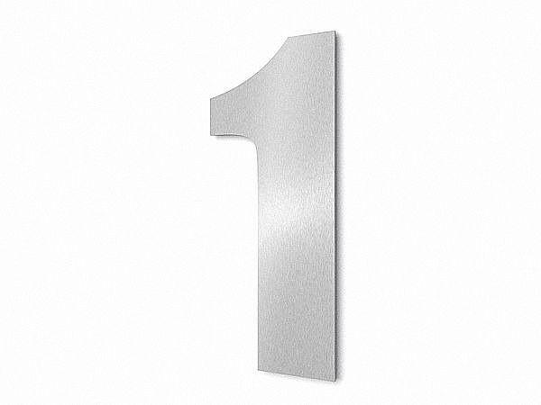 moderne edelstahl hausnummer ziffer 1 in schrift impact hausnummern und schilder online kaufen. Black Bedroom Furniture Sets. Home Design Ideas