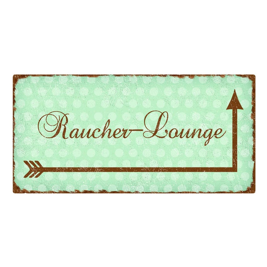 raucher lounge vintage schild 200 x 100 mm mint hausnummern und schilder online kaufen. Black Bedroom Furniture Sets. Home Design Ideas