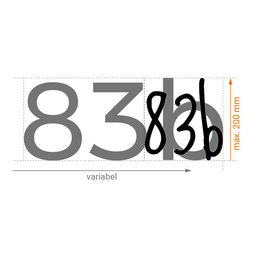 selbstklebende hausnummern 20 cm dreistellig hausnummern und schilder online kaufen. Black Bedroom Furniture Sets. Home Design Ideas