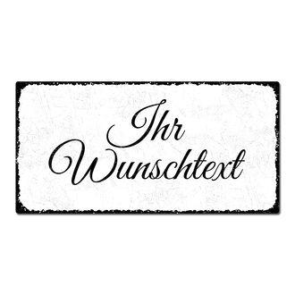 Vintage Style - Blechschild selbst gestalten 200 x 100 mm weiß small ...