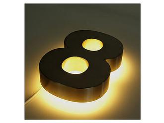 3d edelstahl hausnummer hinterleuchtet mit wei en leds. Black Bedroom Furniture Sets. Home Design Ideas