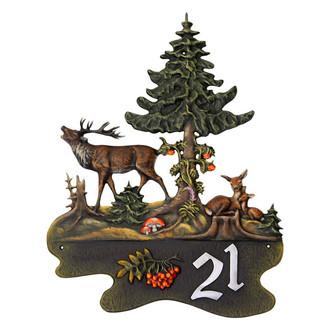 Hausnummer hirsch reh mit kitz aus kunstguss 60 x 75 cm for Silberner hirsch