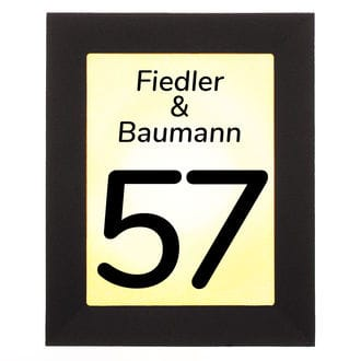 beleuchtete led hausnummer mit nummer und name hausnummern und schilder online kaufen. Black Bedroom Furniture Sets. Home Design Ideas