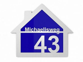 edelstahl hausnummer mit farbigem plexiglas hinterlegt hausnummern und schilder online kaufen. Black Bedroom Furniture Sets. Home Design Ideas