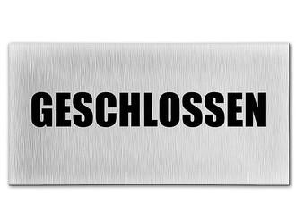 METALLSCHILD Blechschild WENDESCHILD GEÖFFNET GESCHLOSSEN SCHWARZ Türschild Lade
