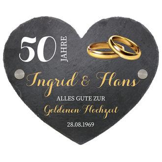Herz Aus Schiefer In Der Größe 24 Cm Goldene Hochzeit