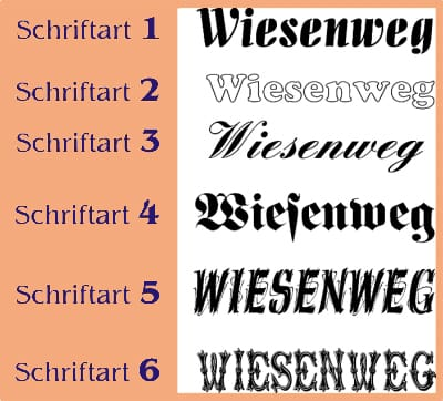 Online shop schriftarten unserer kupferhausnummern schriftarten